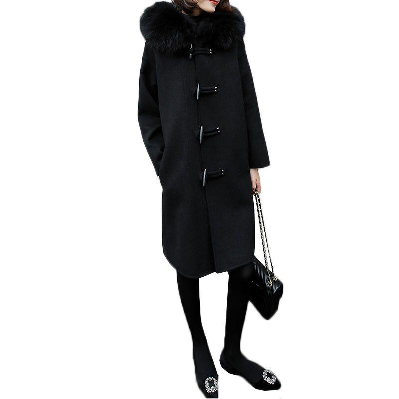 Damen wollmantel 2018 neue winter frauen wolle jacke nerz haar kapuzenmantel weiblichen hörner schnalle mantel winter arbeiten woolen jacke
