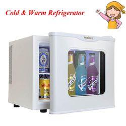 17L mini refrigerador vidrio templado sola puerta fría y caliente refrigerador pequeño hogar calefacción refrigeración muestra gabinete
