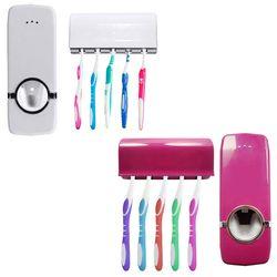 Automático Pasta de dientes dispensador 5 dientes set de montaje en pared soporte cepillo de dientes familia establece zx071