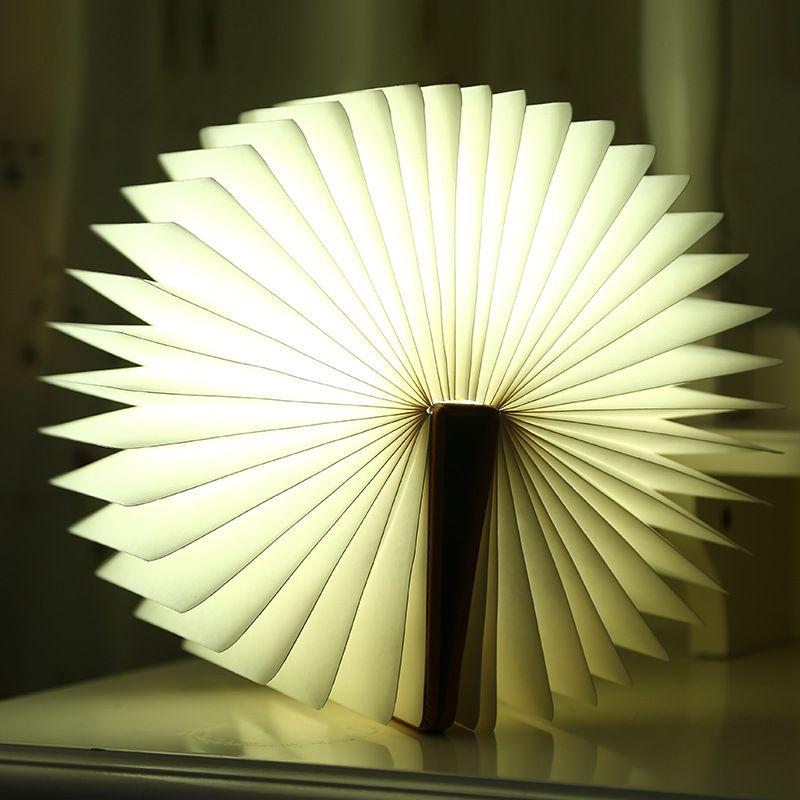 Creativo Plegable Forma de Páginas del Libro del Led Luz de La Noche Iluminación Booklight Lámpara Portátil Usb Recargable