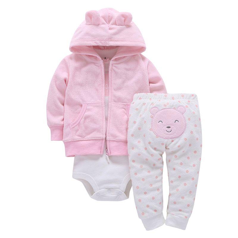 2019 coton complet pressé vente directe 3 Oz. Veste bébé fille pantalon tee shirt garçon mode fille tenue costume collant garcon tissu