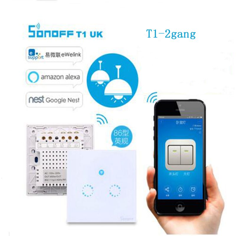 Sonoff T1 2 Gang Smart WiFi Wall Touch RF 86 Type UK Light Switch Smart Home Automation Module Remote Control Smart Switch
