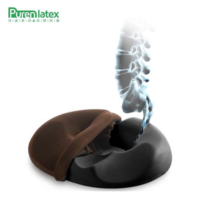 PurenLatex Carbon Charcoal Memory Foam Office Chair Cushion Car Seat Mat Coccyx Comfort Hemorrhoids Surgery Postoperation Pad