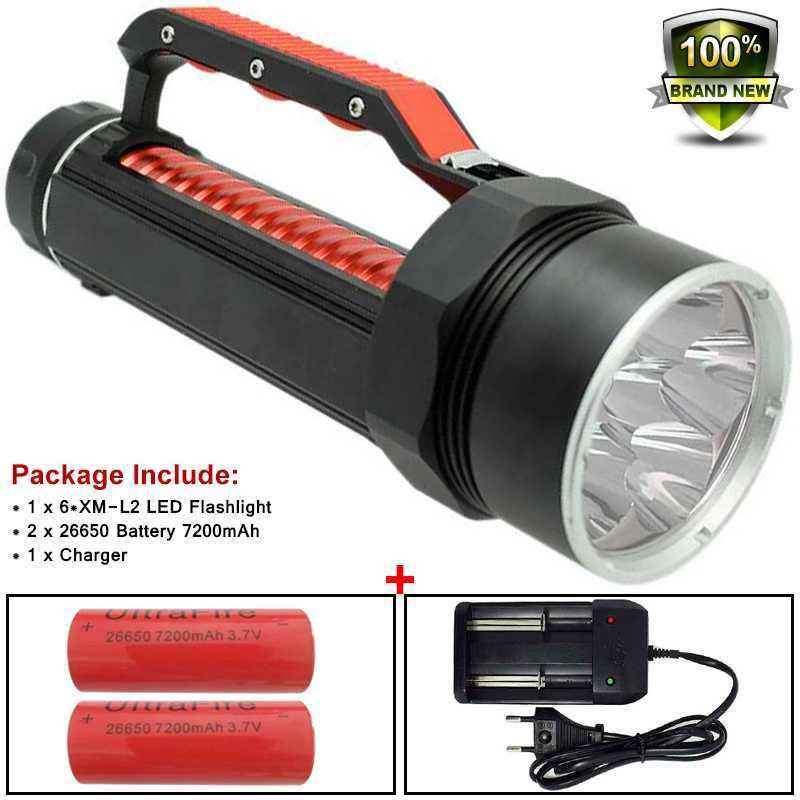Powerful Led 10000 Lume Flashlight Underwater Hunting Diving Torch 26650 XM-L2 Scuba Diver Lamp Flashlight X900 Battery&Charger