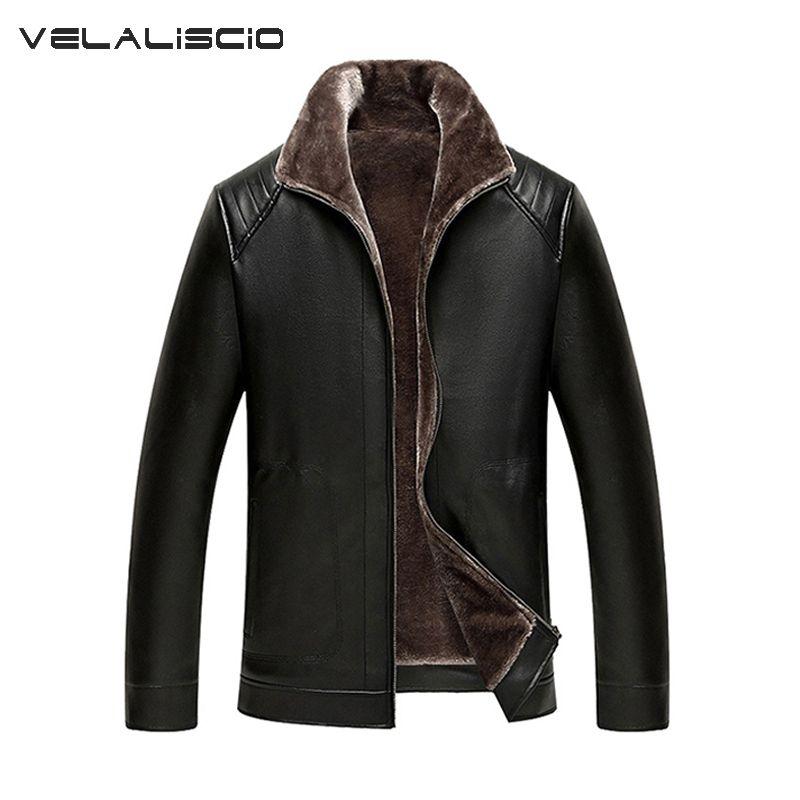 VELALISCIO 2017 New PU Leather Jacket Men Winter Leather Coat Warm Collar Jackets Men Faux Windbreaker Plus Size M-XXXL