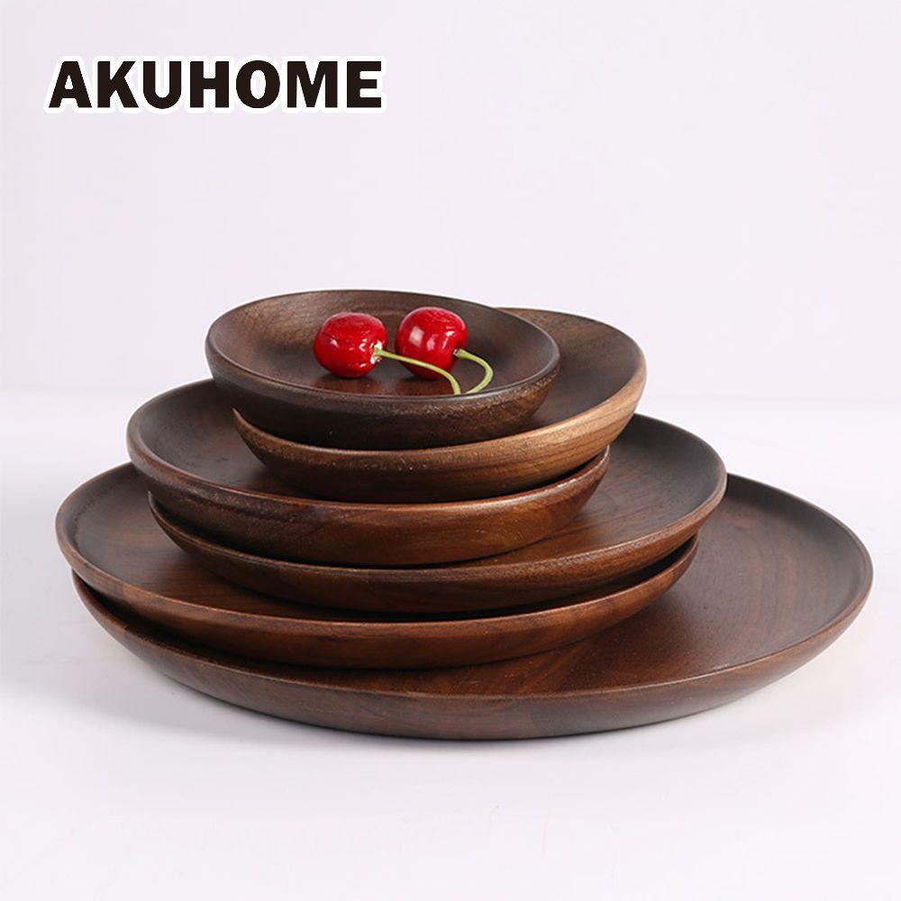 Assiettes de haute qualité en bois de noyer noir vaisselle en bois de hêtre plat de bûche fait à la main pour des cadeaux d'utilisation quotidienne
