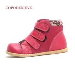 COPODENIEVE winter children Genuine leather snow boots thickening girls warm Mid-Calf cotton shoes