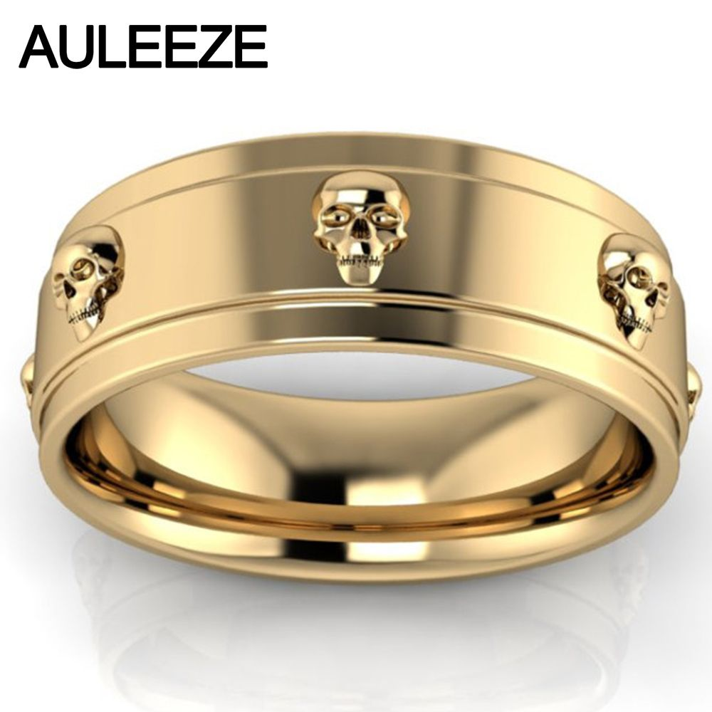 Halloween Skull Ring Pure Gold Solid 10K Yellow Gold Engagement Ring Fashion Art Deco Wedding Band For Lovers' Ring Fine Jewelry