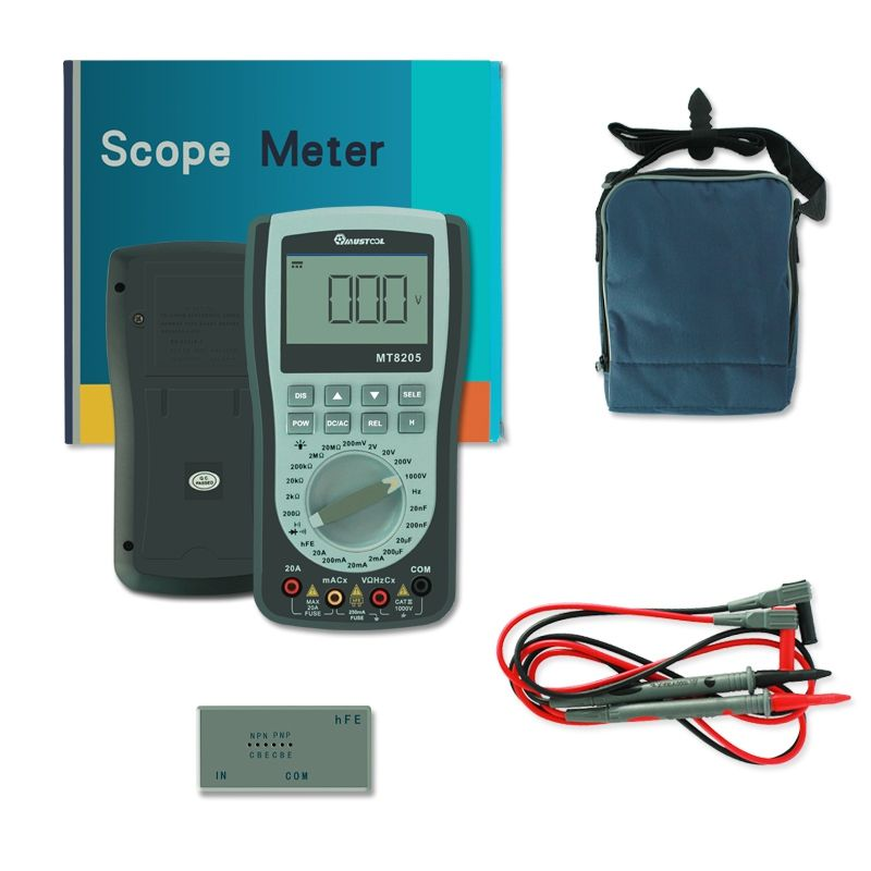 MUSTOOL MT8205 2 in 1 Digital Intelligent Handheld Storage Oscilloscope Multimeter AC/DC Current Voltage Resistance Frequency Di