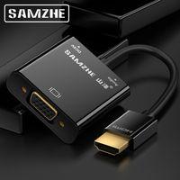 SAMZHE HDMI a VGA Cable Adaptador Convertidor 1080 P Audio y Video con fuente de Alimentación y Salida De Audio para Monitor PS3 PS4 XBOX