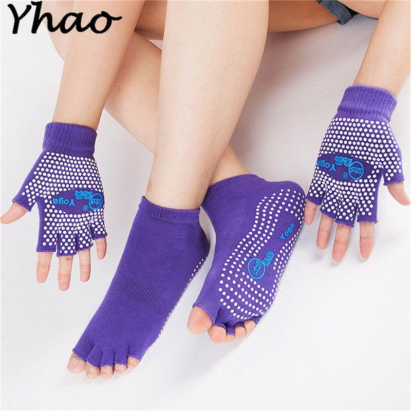 Yhao präfekt Baumwolle rutschfeste Yoga Zehensocken & Handschuhe Set Für Pilates und yoga 2017 Neueste