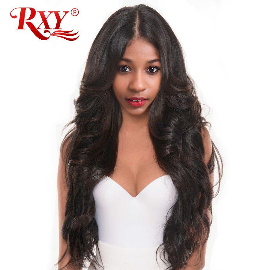Rxy Средства ухода за кожей волна предварительно сорвал полный Кружево Человеческие волосы Искусственные парики для Для женщин бразильский ...