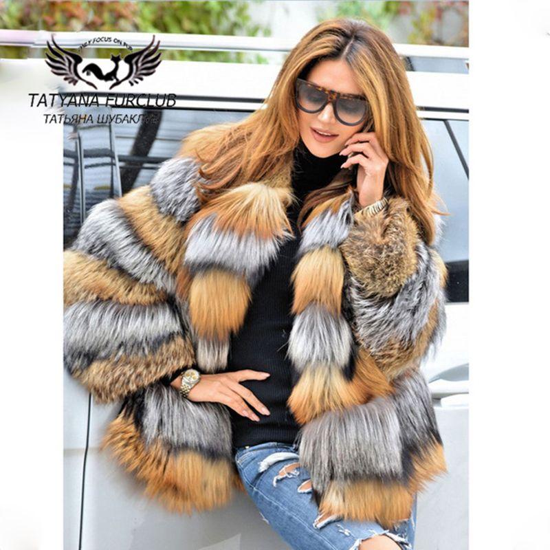 Tatyana Furclub Luxus Fuchs Pelzmantel, 100% Echt Wert Natürliche Fuchs Mantel, Winter Pelzmantel Natürliche Pelz, frauen der Pelz Mantel Weibliche Jacke