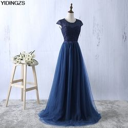 YIDINGZS Navy Blue Prom Dress 2019 New Arrive Lace Tulle A-line Formal Long Evening Party Dress