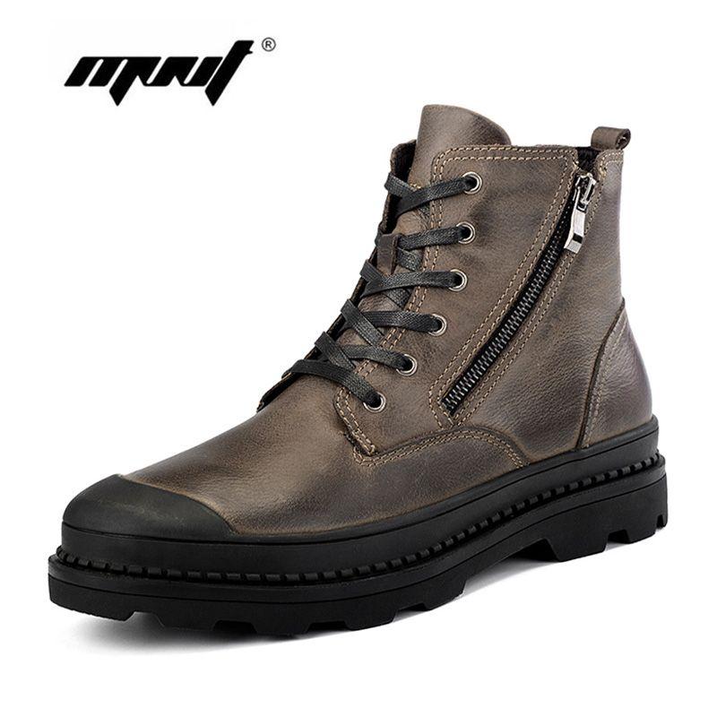 Мужские ботинки Пояса из натуральной кожи зимние ботинки Для мужчин, плюшевые Мех животных теплая Sonw Сапоги и ботинки для девочек, модные бо...