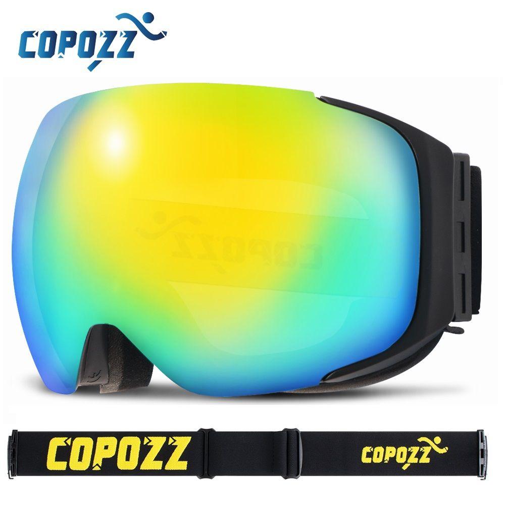 COPOZZ brand ski goggles replaceable magnetic lenses UV400 anti-fog ski mask skiing men women snow snowboard goggles GOG-2181