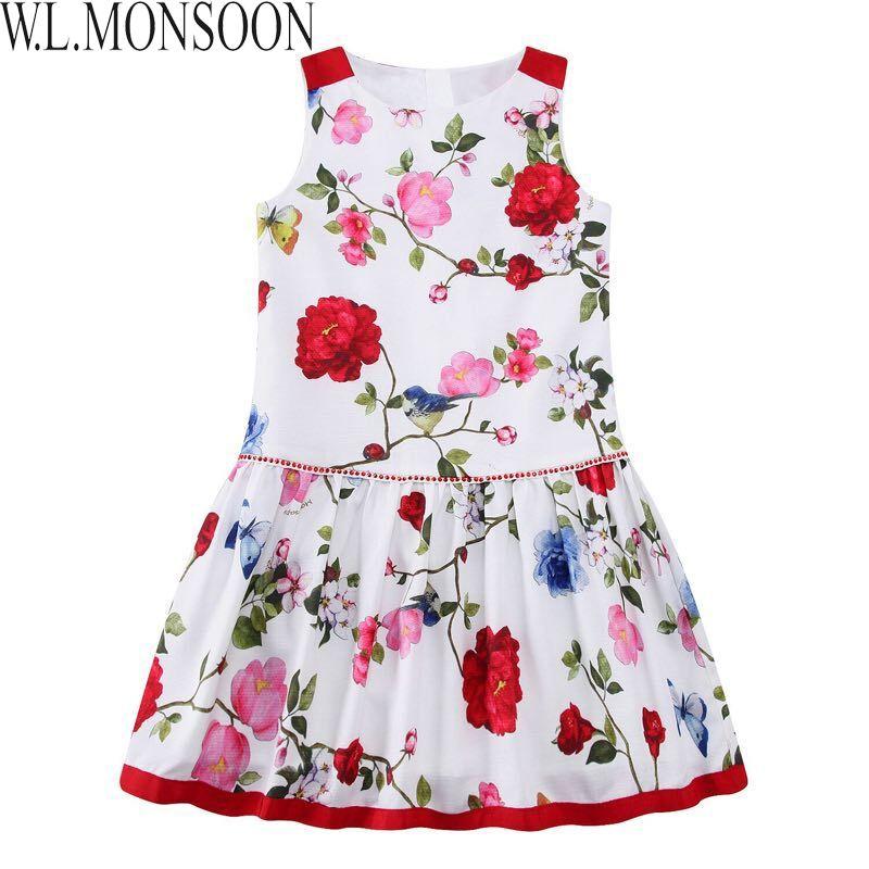 W.L.MONSOON Girls Summer Dress 2017 Brand Children White Floral Dress Princess Costumes Kids Beading Dresses Toddler Robe Fille