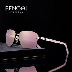 FENCHI Sonnenbrille Frauen designer marke luxus randlose retro sonnenbrille rosa spiegel rave trendy shades lunette soleil femme