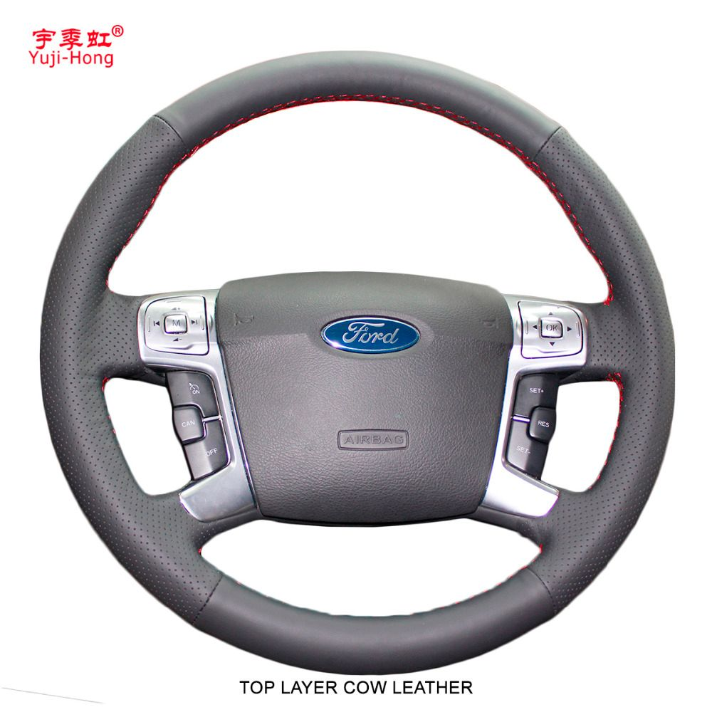 Yuji-Hong Top Layer Genuine Cow Leather Car Steering Wheel Covers Case for Ford MONDEO 2007-2012 CHIA-X S-MAX 2007 Hand-stitched