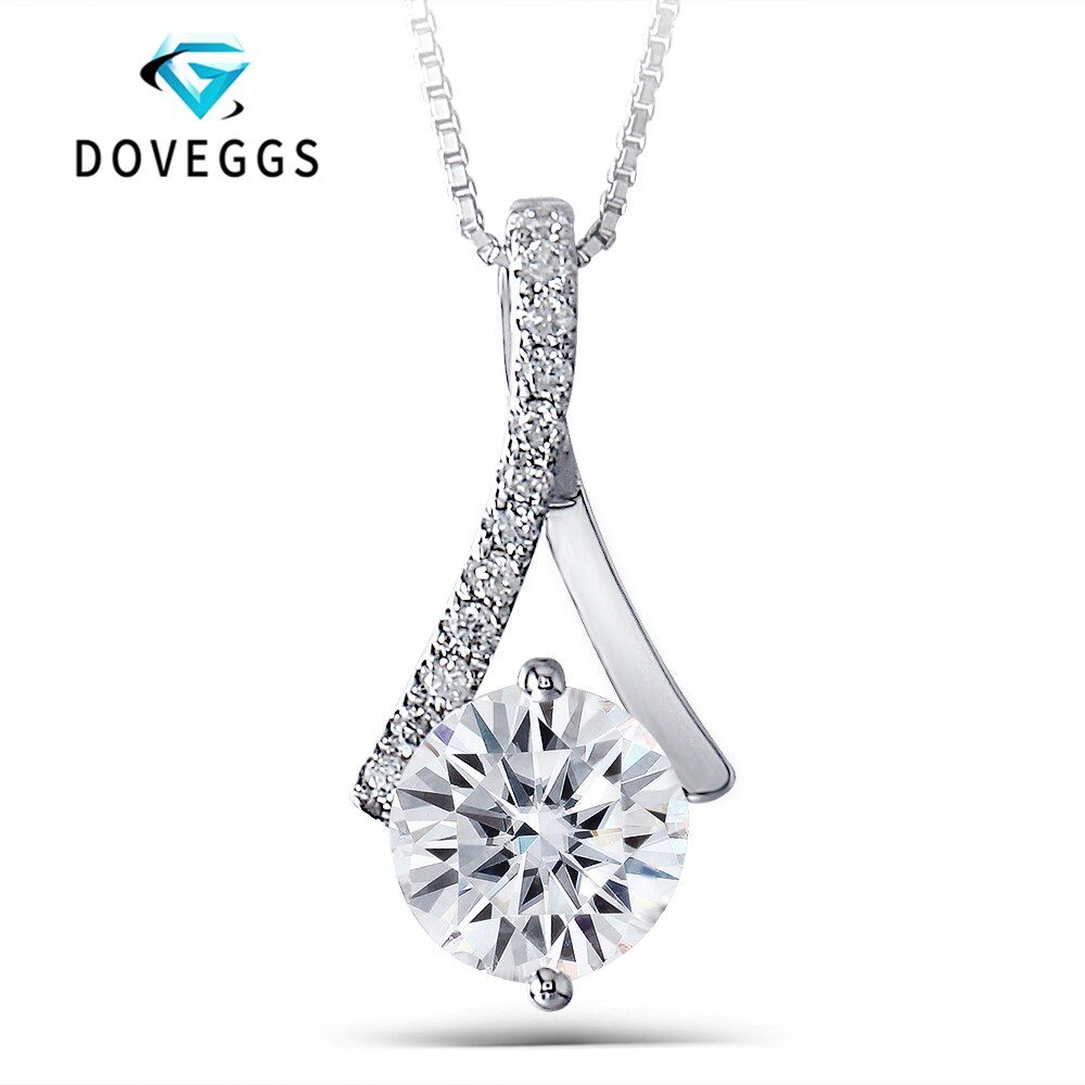 DovEggs 14K 585 White Gold 1.64ctw 7.5mm Round Brilliant GH Color Moissanite Diamond Pendant With Accent Necklaces For Women