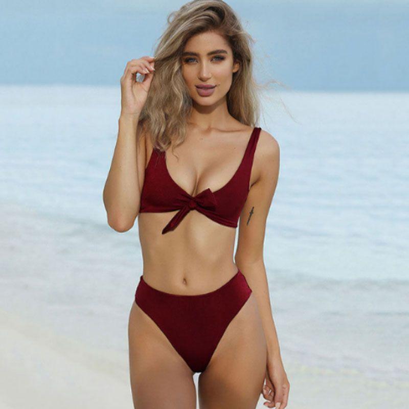 Nœud couleur unie bikini sexy grand décolleté en V taille haute slips 2019 femmes Biquini plusieurs couleurs Push Up maillots de bain