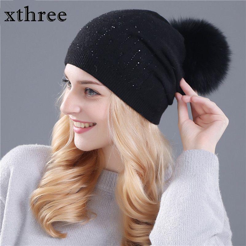 Xthree зимняя шапка для женщин шерсть кролика вязаная шапка шапочки реального норки и меха лисы помпонами Skullies Hat Девушки feminino