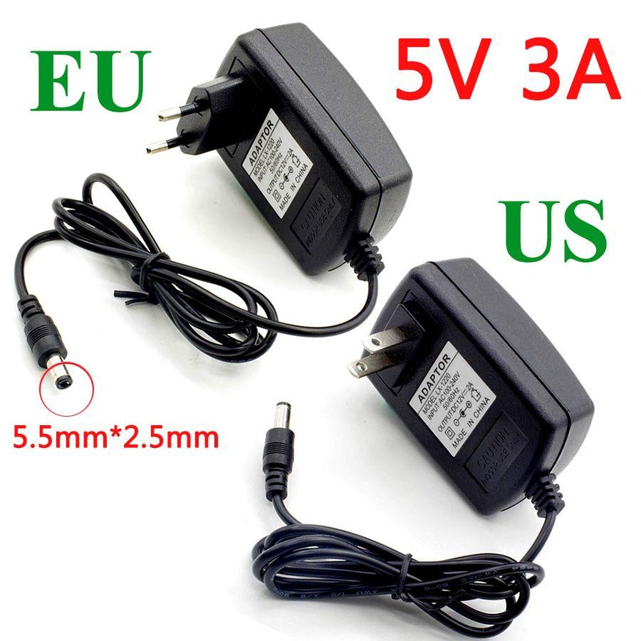 Power Adapter AC 220V to DC 5V 3A  EU/US Plug Converter Transformer 5.5mm*2.5mm Power Supply Charger For LED Strip 5 V 5volt