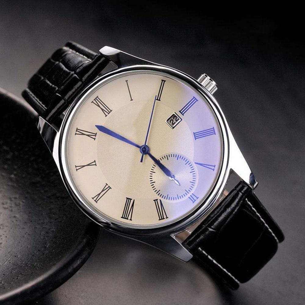 Fashion Men's Luxury Faux Leather Classic Blue Ray Glass Quartz Analog Watch Brand New High Quality