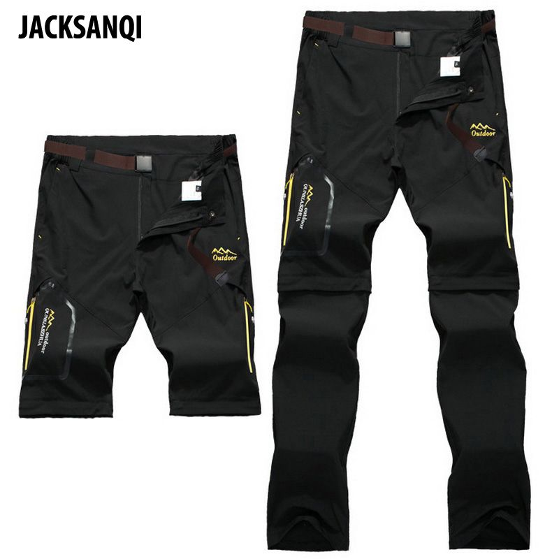 JACKSANQI Men's Pant Removable Shorts Camping Hiking Pants Outdoor Sport Trousers Trekking Mountain Climbing Fishing Pants RA066