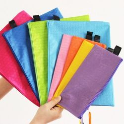 1 pcs Colorful Single Layer canvas Cloth Zipper Paper File Folder Book Pencil Pen Case Bag File Document Bags supplies