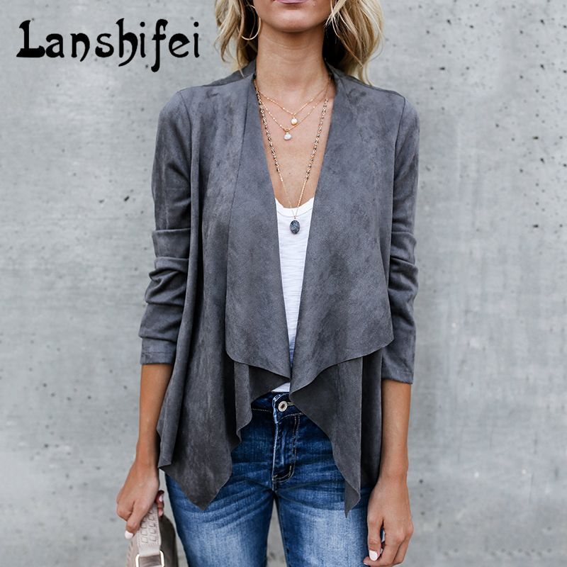 2017 New Artificial Suede Cardigan Women Spring Autumn Short Jacket Slim Dark Gray Beige Coffee Ladies Casual Basic Chaquetas