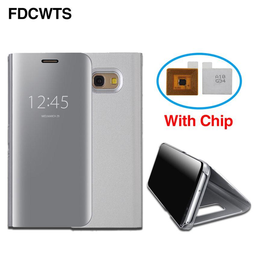 FDCWTS Smart Chip Clear View Flip-Cover Ledertasche Für Samsung Galaxy Note5 Note8 Telefon Fall IC Spiegelabdeckung