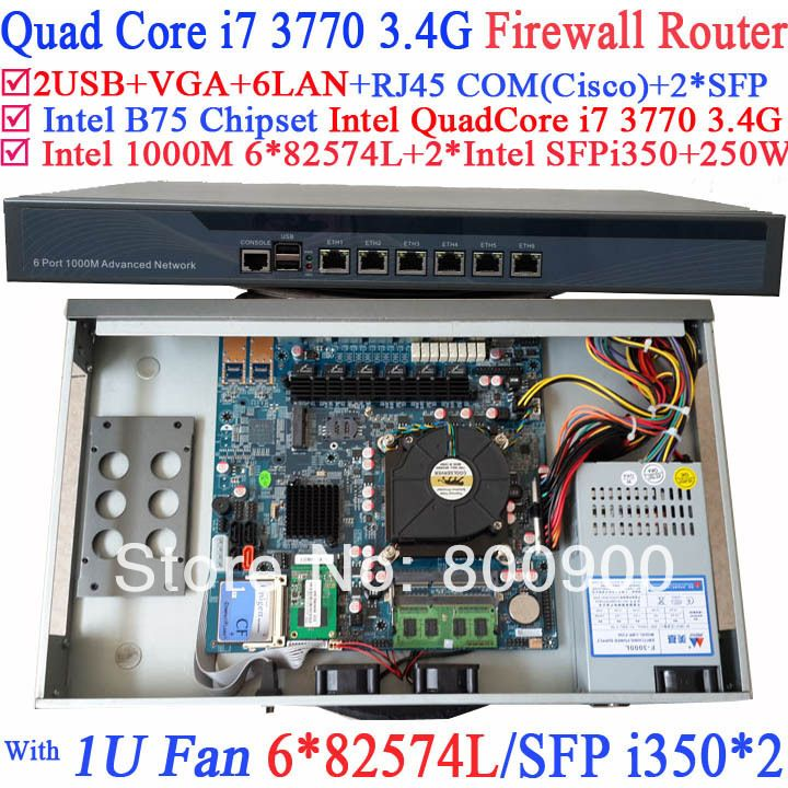 Smart 1U Network Firewall soft routing with 8 Ports 6*1000M 82574L Gigabit Nics 2* intel i350 SFP Intel Quad-Core i7 3770 3.4Ghz