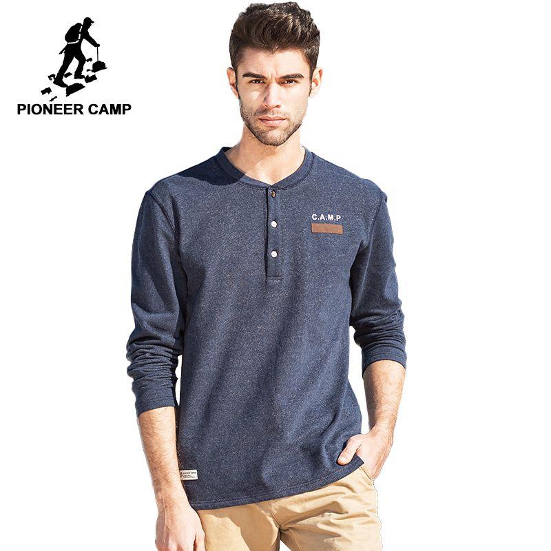 Pioneer Camp new fashion mens t shirt brand clothing thick T-shirt male cotton comfortable top quality elastic soft Tshirt