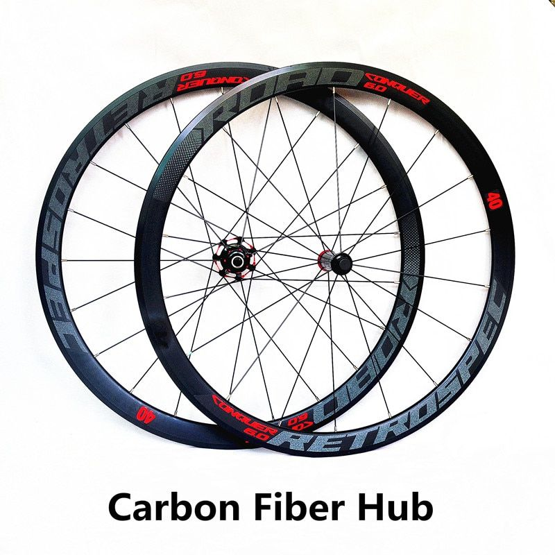 RS ultra-light carbon fiber hub 700C road bike wheels 40cm wheelset 4 sealed bearing alloy rim colorful reflective wheels