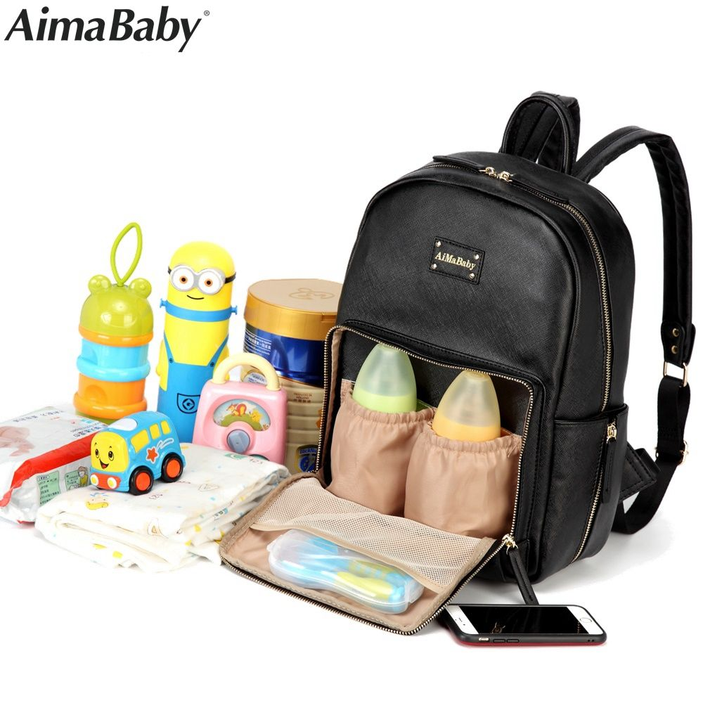 Aimababy PU Leather Baby Bag Organizer Tote Diaper Bags Mom Backpack Mother Maternity Bags Diaper Backpack Large Nappy Bag