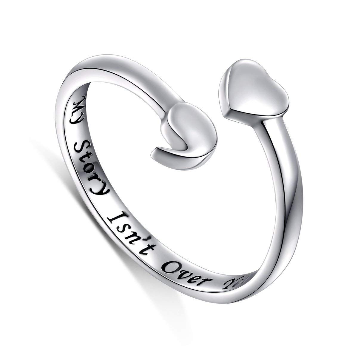 Semicolon Ring 925 Sterling Silver My Story Isn't Over Yet Spiritual Awareness for Suicide and Depression Jewelry QH0160