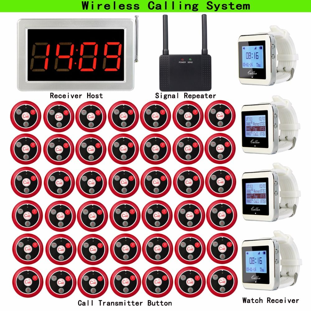 Restaurant Pager Wireless Calling System 1pcs Receiver Host+4pcs Watch Receiver+1pcs Signal Repeater+42pcs Call Button F9408