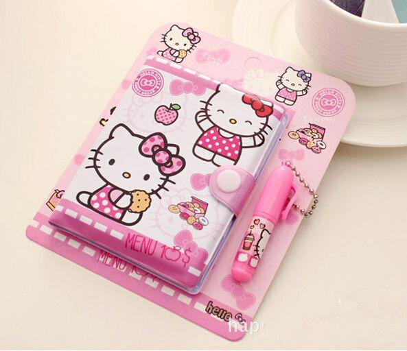 12*14,5 cm Nettes Hallo Kitty Notebook mit Kugelschreiber Notizbuch Tagebuch Buch Übungsbuch Escolar Papelaria Schule Büro versorgung