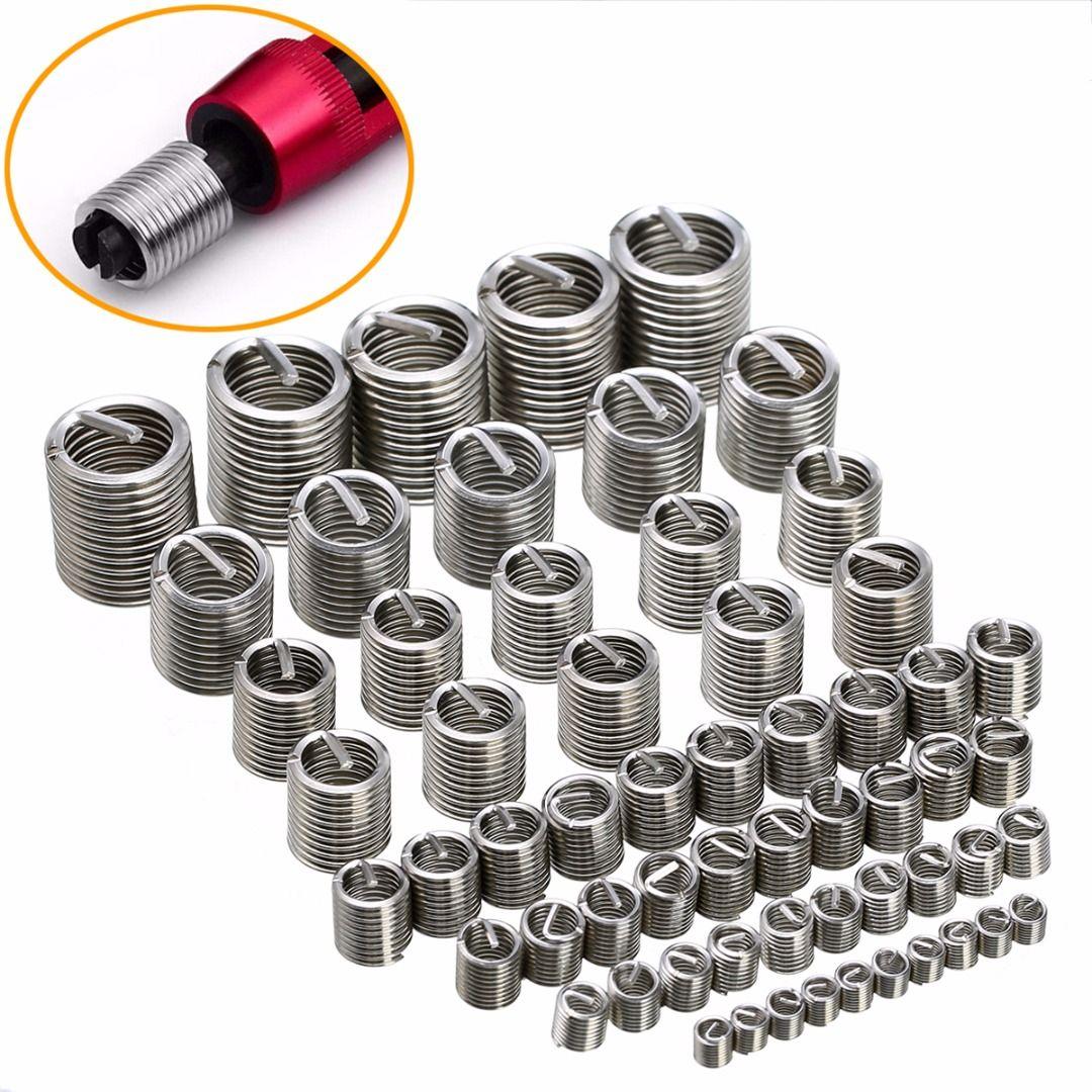 60pcs Silver M3-M12 Thread Repair Insert Kit Set Stainless Steel For Hardware Repair Tools