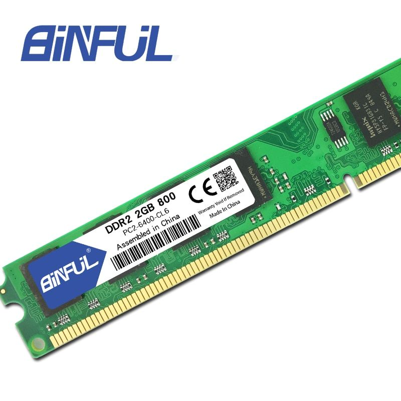 BINFUL DDR2 Ram 2GB 800MHz 1.8V 240Pin non-ECC Desktop Memory Dimm System High Compatible