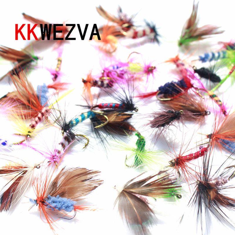 KKWEZVA 60 pcs Leurres Crochets de pêche à la Mouche papillon Insectes Style Mouches à Saumon Truite Sèche Simple Leurre de Pêche À La Mouche De Pêche s'attaquer