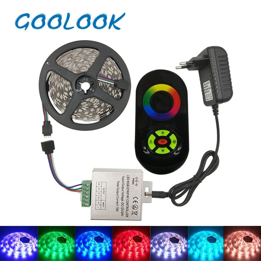 RGB SMD 5050 The most beautiful home improvement waterproof soft  led lights ribbon with controller with power supply full set