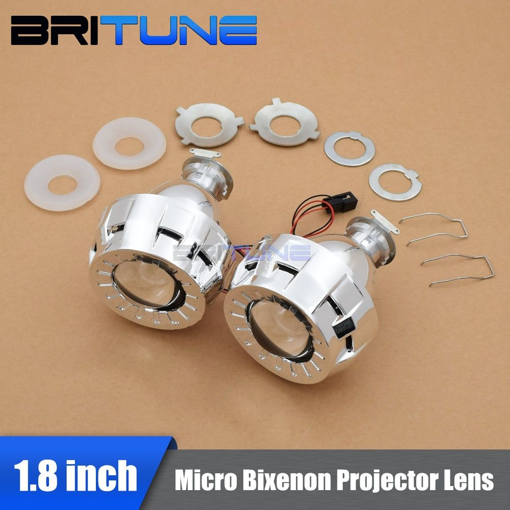 1.8/2.0 Inches Micro HID Bi xenon Projector Lenses for Headlight + Shrouds High Low Lamps H1 H4 H7 RHD/LHD For Retrofit Kit DIY