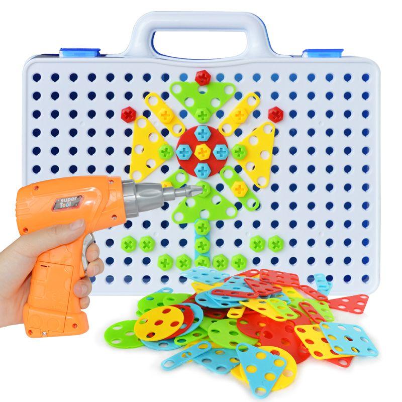 Vis autoperçante électrique groupe jouet écrou démontage Match Puzzle jouets éducatifs assemblé blocs ensembles conception construction jouets pour garçons