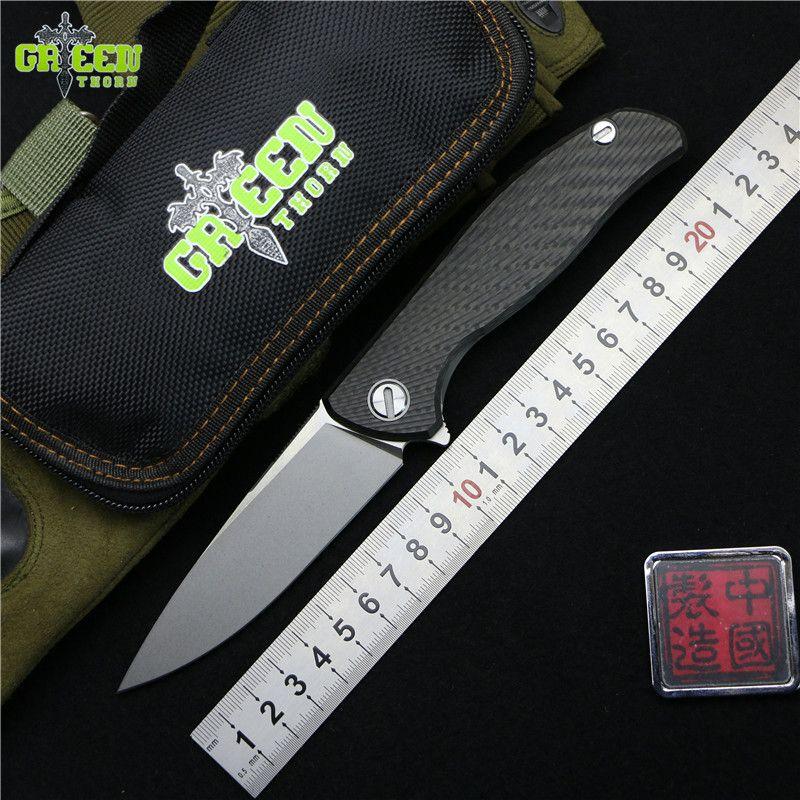 Green thorn 95 HATI Flipper folding knife M390 steel bearing titanium CF 3D handle camping hunting outdoor fruit Knives EDC tool