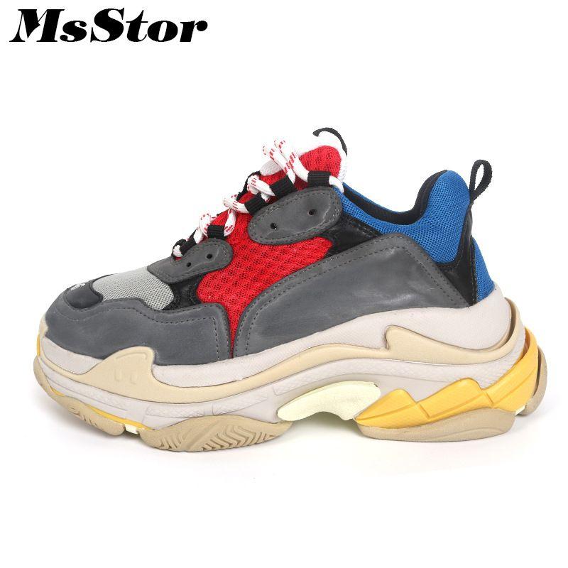 MsStor Mesh Atmungs Wohnungen Turnschuhe Schuhe Frau Dicken Boden Casual Mode Marke Frauen Schuhe Turnschuhe Liebhaber Flache Schuhe Frauen
