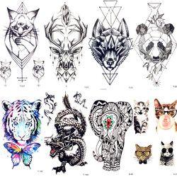Geometry Cat Elk Wolf Temporary Tattoo Women Body Arm Water Transfer Tattoo Men Makeup Tatto Sticker Bracelet Deer Animal Zoo