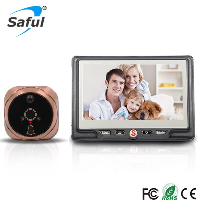 Saful 4.3''Door Viewer Peephole Camera with PIR Motion Detect and IR Night Vision Video Camera Eye Doorbell Mini camera