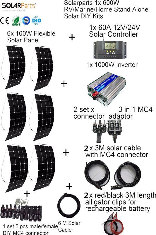 BOGUANG 6x100W off-grid Solar System KITS flexible solar panel +controller+inverter+cable+adaptor for RV/Marine/Camping/Home